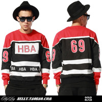 Autumn and winter fashion HARAJUKU horizontal stripe hba letter o-neck long-sleeve pullover sweatshirt lovers male women's