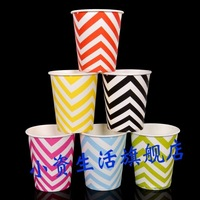 Environmental Color wavy textured paper cup 10pc/lot  250ml disposable paper CUP children's cartoon birthday CUP 6 colors option
