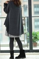 New 2014 Fashion Pregnant Women Dress Temperament Loose Plus Size O-Neck Long Sleeve False two-piece set Dress 8071