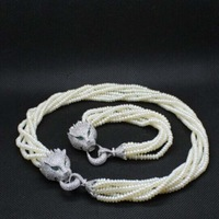 free shipping set 4-5mm Small Pearl multilayer freshwater pearl necklace & bracelet leopard head clasp Q19#