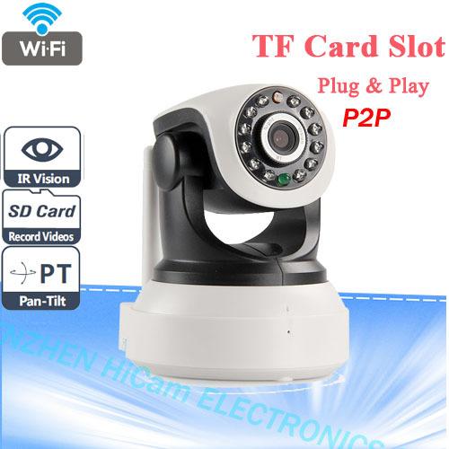 P2P Plug And Play IP Camera Wireless Wifi CCTV Camera Indoor Pan/Tilt Night Vision Support 32G SD Card(China (Mainland))