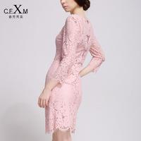 New Fashion High Quality 2014 Autumn Elegant Slim Lace Cutout Three Quarter Sleeve OL Women Dress Small One-piece Dress Female