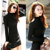E-Unique New 2014 Autumn And Winter Women Strapless Little Turtleneck Slim Hip Long-Sleeve Basic One-Piece Dress JB06
