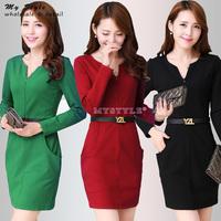 NEW 2014 Fashion Women Dresses Bodycon Slim Thin Elegant Work Wear Casual Autumn Winter Plus Size Women's Dress With Belt 2099