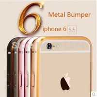 Luxury Ultra thin Metal Aluminum Frame Bumper Case Golden Border Circle Arc For Apple iPhone6 5.5Inch 100pcs/lot free shipping