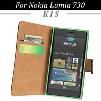 30pcs/lot For Nokia Lumia 730 Wallet Style 2 Credit Card Slots Magnetic Genuine Leather Case With Stand, Free Shipping