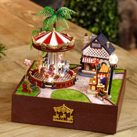 Free shipping! DIY Wooden Toy DIY House Carousel Garden , Novelty Miniature 3D Assembling Furniture Dollhouse baby Toy For Kids