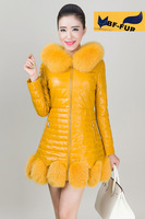 New 2014 Genuine sheepskin leather Coat With Real Natural fox Fur collar Jackets Outerwear Fashion Women Winter Overcoat