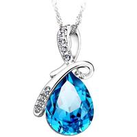 Free shipping Top Quality Fashion S925 Sterling Silver women Angel Tear Crystal Zirconia Diamond Neckalce Nickel free,best gift