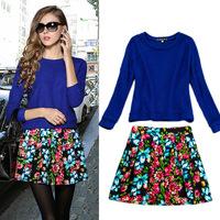 2014 winter women's fashion blue plaid cashmere thermal top expansion bottom print sheds twinset suits women set