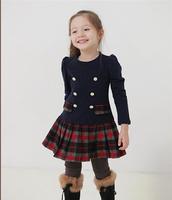 2014 Autumn Korean version of Girls College Wind cotton trade dress plaid long-sleeved dress child princessxjh20