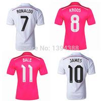 Thai RONALDO KROOS 2015 Real madrid soccer jersey, 2015 white pink JAMES BALE Real madrid jersey 14 15 Real madrid soccer shirt