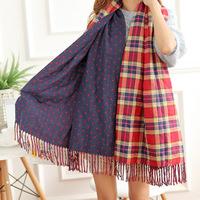 B104 Bohemian National Wind sided cashmere shawl scarf winter plaid dot Han Guoqiu