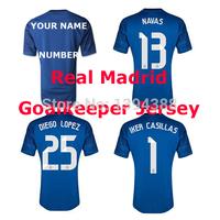 14/15 NAVAS IKER CASILLAS Real Madrid Goalkeeper Jersey 2015 2014 DIEGO LOPEZ Soccer Jerseys Real Madrid Goalkeeper soccer shirt