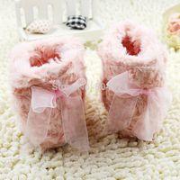 Free shipping baby girl pink boots, Cotton sole bottom prewalker,0-12 month frist walker,kids shoes
