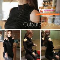 E-Unique New 2014 Autumn Sexy Ladies Ol Elegant Slim Basic One-Piece Dress Slim Hip Strapless Turtleneck Dress BB08
