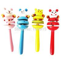 Hot Selling!Baby Bell Toys Cartoon Animal Wooden Handbell Kids Education Musical InstrumentFree&Drop Shipping