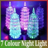 2014 Acrylic Small Night Light Colorful Flash Change Color Led Pagoda Christmas decoration children Gift NightLight FreeShipping