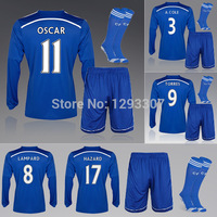 14 15 Chelseaers Full Sleeve Football Kits Set of Jersey kits & Socks Sports Outfits Lampard Hazard Oscar Soccer Shirt Uniform
