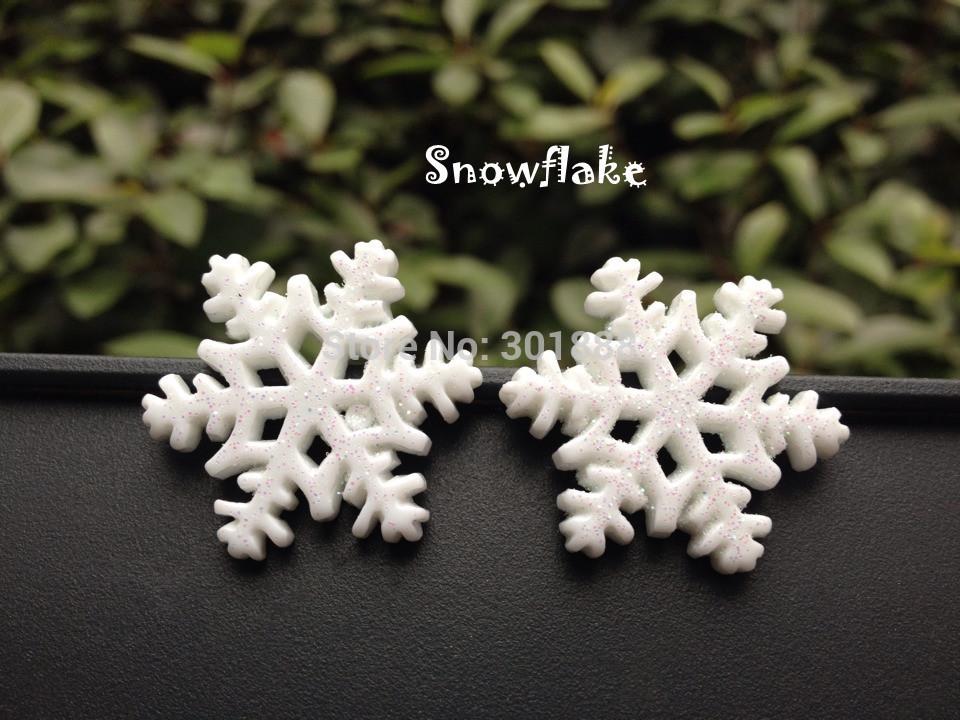 Free shipping,50pcs/lot,Glitter Snowflake Resin Christmas flatback Cabochon Scrapbooking hair bow center Craft DIY,YCBC-5(China (Mainland))