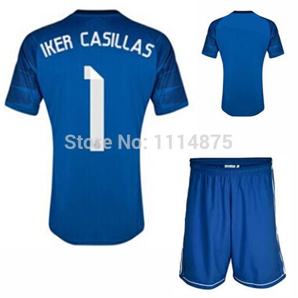 Kits alta calidad 14 15 Real Madrid camisetas de fútbol + short IKER ...