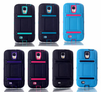 2014 Hot Cases High Impact Hard Soft Rubber Matte Hybrid Case Cover For Samsung Galaxy S4 i9500 Good Quality Free shipping