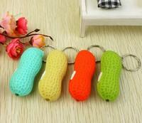 Fashion  LED Cute Bright Mini Peanut Torch Flash light Keychain LED Flashlight  free shipping