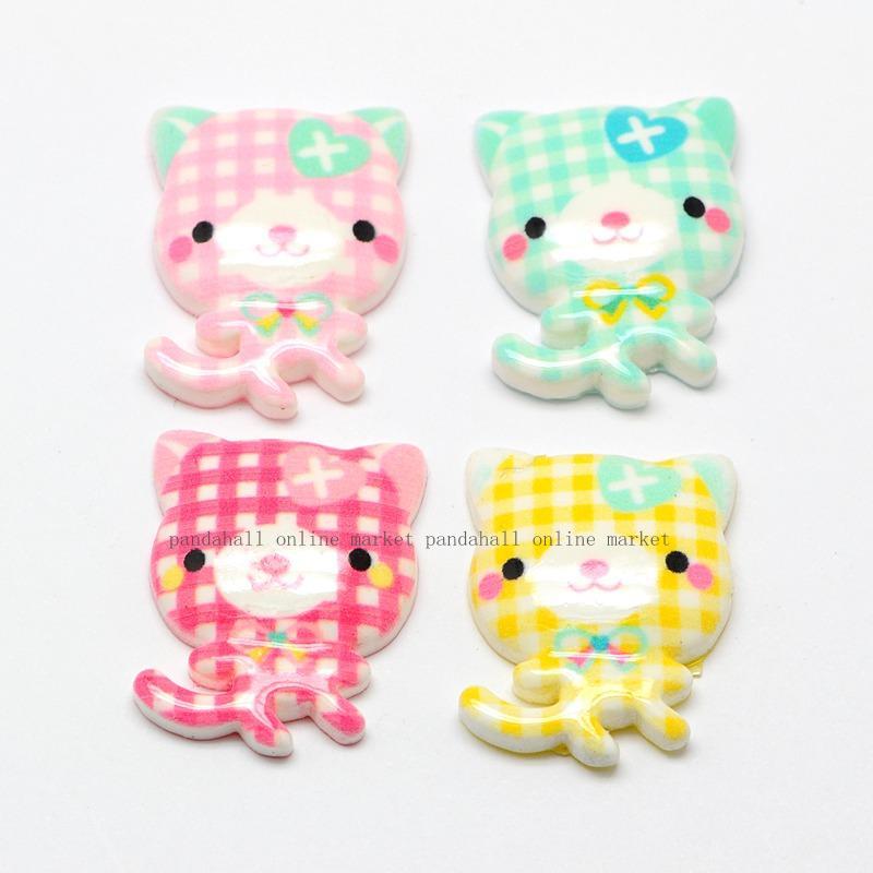Candy Color Scrapbook Embellishments Resin Flatback Cabochons, Cartoon Cat, Mixed Color, 26x19x5mm(China (Mainland))