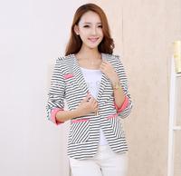 new arrival stripe jackets 2015 korean women coat autume winter  blazer feminino clothes chaquetas mujer tops free shipping