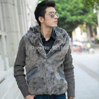 Free shipping! men more warm  cotton knitted sleeve rabbit fur hooded jacket  casual frozen dress winter antifreeze  installed