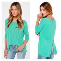 New Brand Women Long Sleeve Knitted Pullover Blue-green Golden Zipper Split Back Sweater Female Winter O-neck Cardigan 10219