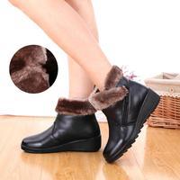 2014 Winter elderly woman flat cotton non-slip boots  Genuine Leather  size 35 ~ 41