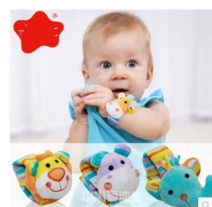 Bebê de pelúcia selva chocalhos relógio de pulso com brinquedos do bebê sino(China (Mainland))