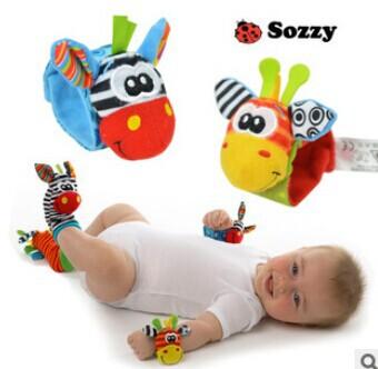 Frete grátis 2014 meias infantil Novo Um Par Sozzy macia do bebê Toy pulso chocalhos Finders Developmental(China (Mainland))