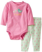 2014 Carters Baby Gilrs sets,Autumn Cute Girl 2 pieces (Bird Bodysuit+ Cherry Pant) Set,Cotton for a Cold Day,Freeshipping