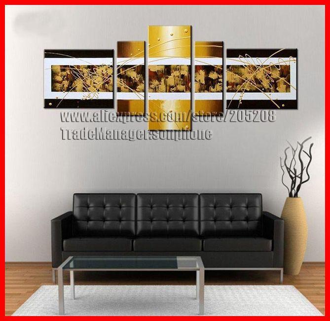 emoldurado 5 painel grande parede fotos para sala óleo abstrata pintura em tela arte xd02945 quadros(Hong Kong)