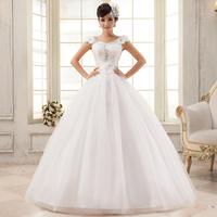 Hot new white word shoulder wedding dress Han edition crystal flowers Sweet princess wedding dress 2014 model