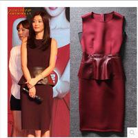 Free Shipping  Summer New Women Wine Red PU leather Patchwork Ruffles Slim Sleeveless Dress