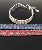 !free shipping wholesale &retails 4 row rhinestone with elastic necklace for pet dog jewelry