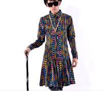 Multicolour chain print shirt dresses dance clothes