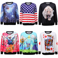 21 Colors 2014 New Spring Winter Women's Fashion Carton 3d Printed Sweatshirts O-Neck Sweater Pullover Clothing Casual Hoodies
