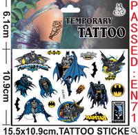 Boy's gift cartoon Batman waterproof tattoo stickers,bat men batmen,Party Supplies kids gifts toys boys children Tattoos Sticker