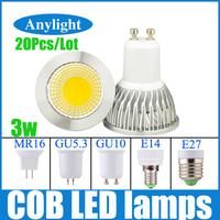 20pcs/lot 3W/9w LED COB Lamp GU10/E27/E14/Gu5.3/Mr16 85-265V(110v/220V/230V) CE Warm White/ White High Power Spot lighting WSP21