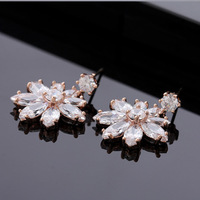 Free Shipping 1 Pair (SRKE003) Top Quality 18 k Rose Gold 1ct Round CZ Stone Hook Earrings High quality jewelry wholesale