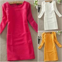 2014 New Winter Autumn Dress Plus Size Solid Slim Long Sleeve Knitted Cotton Basic Dresses Women Vestidos Casual Dress M-XXXL