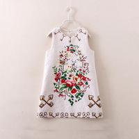 winter new arrival brand design children girl sleeveless flower bohemian dress 2-7 years