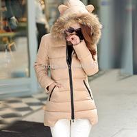 2014 winter women cotton down padded middium long jacket large fur on cap women snowwear