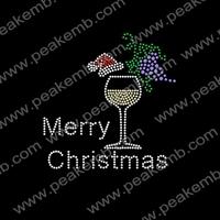 Custom Rhinestone Iron on Transfers Wholesale Christmas Wine Cups Hotfix Designs 50Pcs/Lot Free Shipping