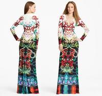 2014 Italian Luxurious Brand Design Spandex Stretch Vestido Snakeskin Print Long Dress Charming Stretch Jersey V-neck Maxi Dress