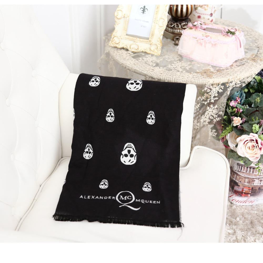 2014 New Autumn Winter Black Big Skull Scarf Wild Stlye lady Long Shawl Wrap 100%Wool Tassels Jacquard Fashion FREE SHIPPING(China (Mainland))